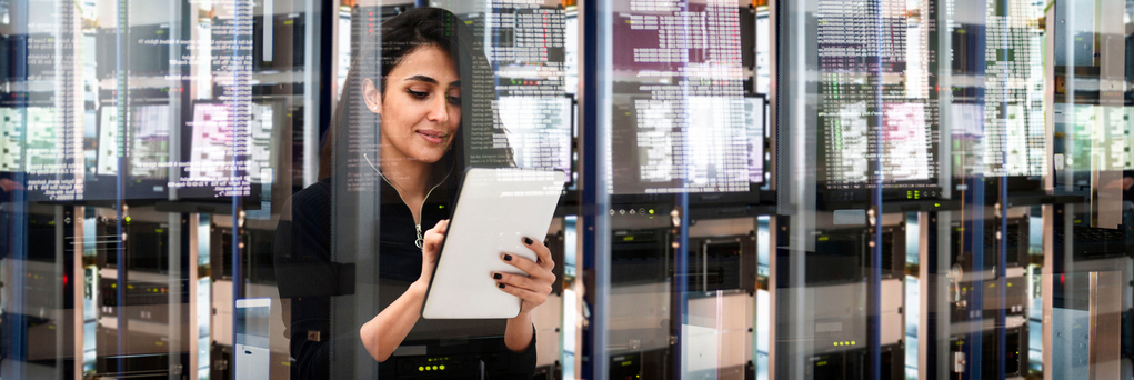 Female IT engineer in data center